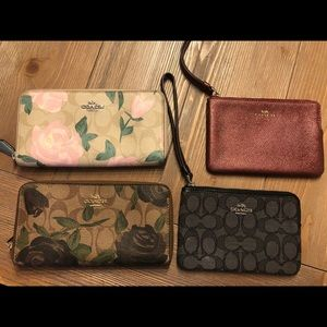 Lot of 4 Authentic COACH Wallets and Wristlets